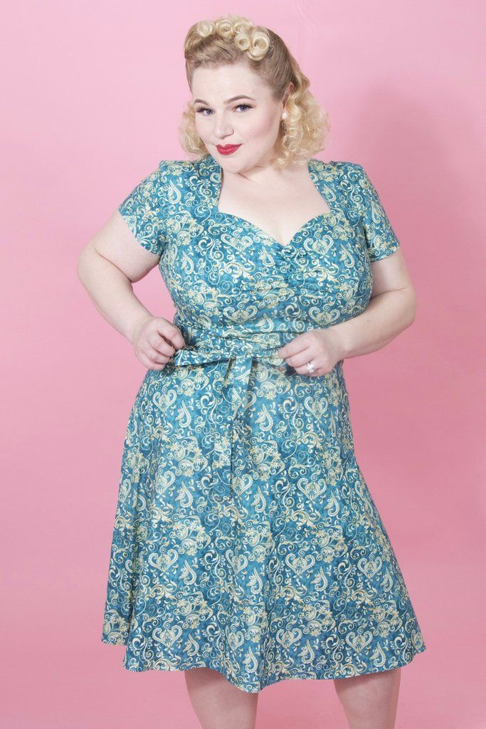 1940s Style Dresses and Clothing Aimee Dress - Scroll Blue  AT vintagedancer.com