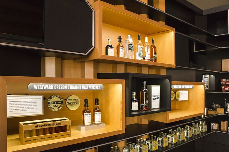 House Spirits Tasting Room designed by award winning design firm, OSMOSE Design. All interior fixtures built by ACME Scenic & Display.
