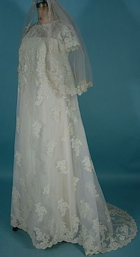 """c. 1966 PRISCILLA OF BOSTON """"Babydoll"""" Trained Wedding Gown with matching veil. Similar in Style to Priscilla Presley's Wedding Gown"""