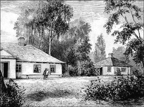 Dołhe. Dwór Kraszewskich, drzeworyt, 1880, Bialorus