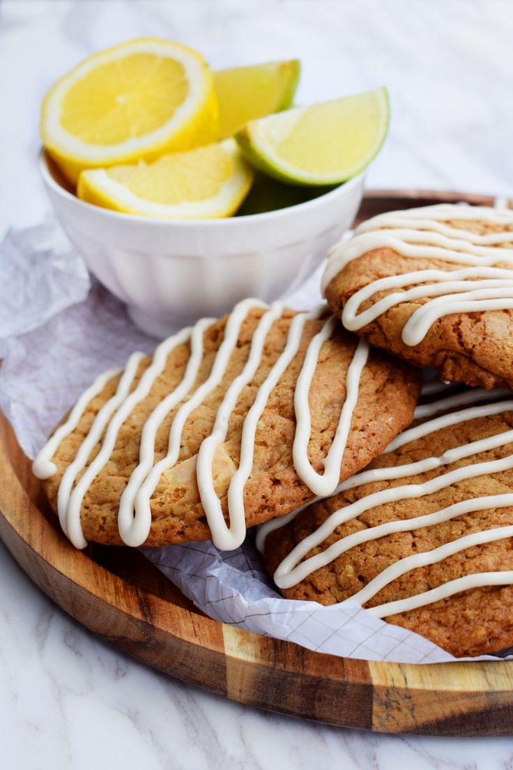 Bakelyst.no: Oppskrift på seige cookies med hvit sjokolade og sitron.