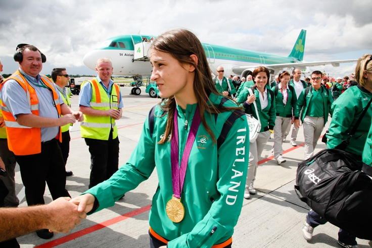 Irish Olympic gold medallist Katie Taylor being congratulated upon arrival at Dublin Airport. #TeamIreland #Olympics #London2012 #Ireland #Dublin #DublinAirport