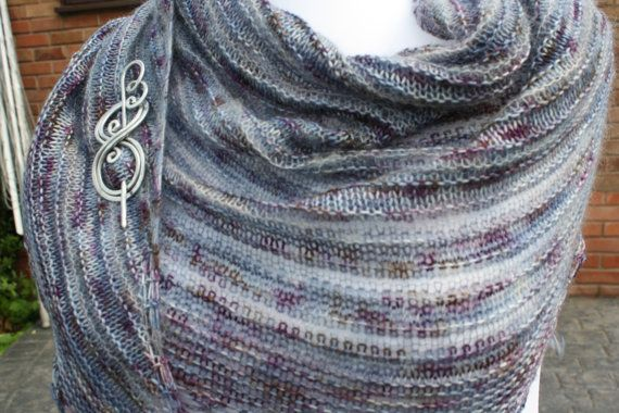 Hand Knit Merino/Cashmere/Mohair/Silk Crescent by WrapsodyInLace, £65.00
