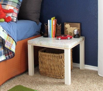 20+ IKEA Hacks using the Lack side table - the Lack side table is under $10 at IKEA. Map on top.