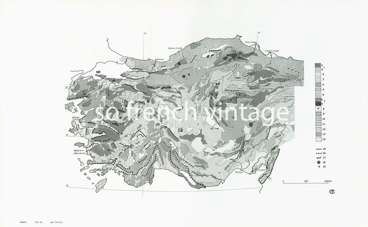 1970 Carte Géologique de l'Asie Mineure Relief Geologie Géomorphologie Grand Format de la boutique sofrenchvintage sur Etsy
