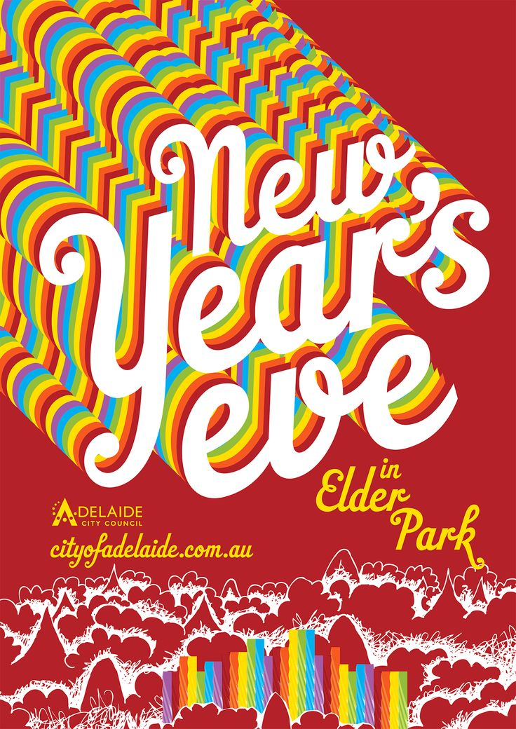 Event poster design for New Year's Eve in Adelaide by Flux