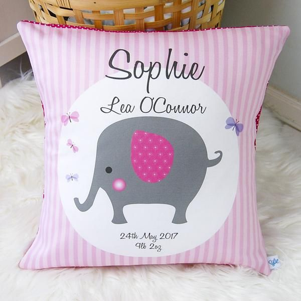 Girls Elephant Personalised Pink Birth Cushions