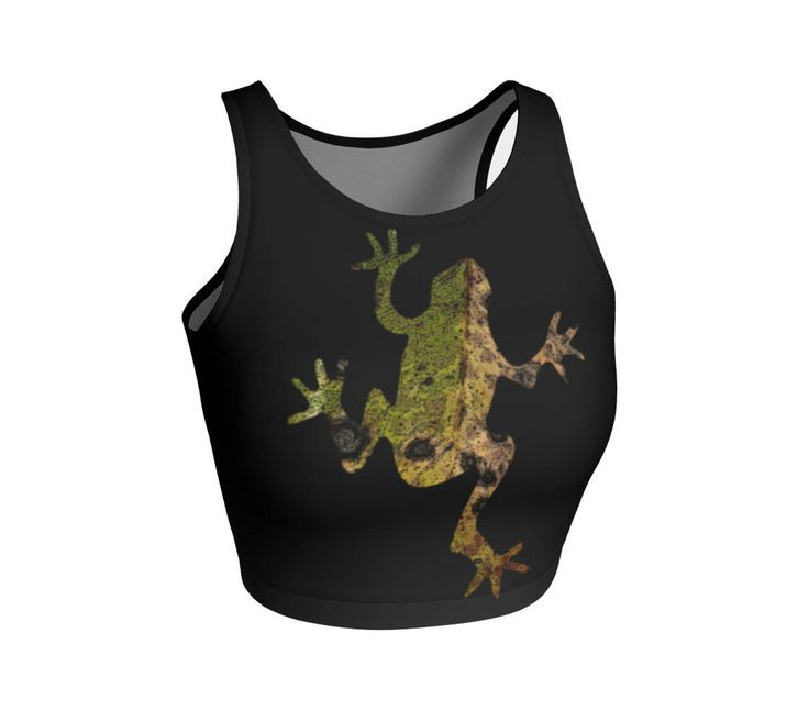 Hop to it in this stylish top featuring a stylized frog. Use them for you next workout, yoga, and swimming. Style it with overalls for festival wear or layer it under a blouse.   #Frog #Athletic #Cropped #Top, #Animal, For #Yoga #Running #Fitness, #FestivalFashion #Womens #WomensFashion #Sportswear #etsy #etsyshop #etsyseller by WhimZingers on Etsy