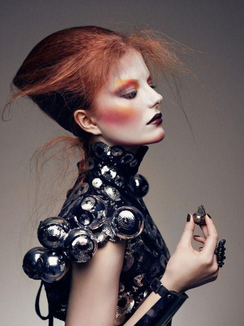love the hair, make-up & metal!  #fashion