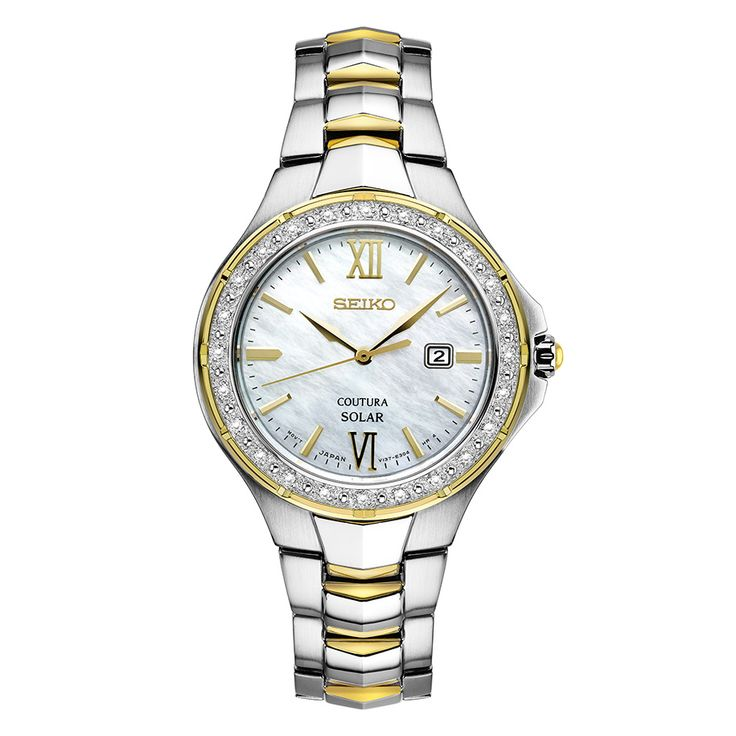 Seiko Coutura SUT240 Powered by light energy with 24 Diamonds and a Mother Of Pearl Dial. Water-resistant to 10 bar, 100 meters (330 feet).