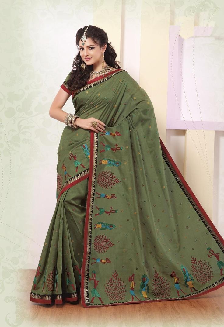 $61.04 Green Silk Saree 21869 With Blouse