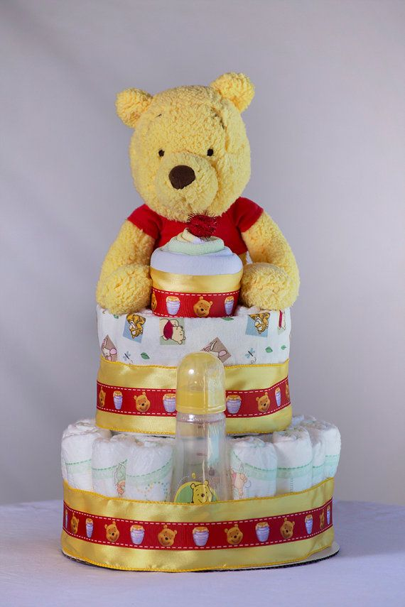 """The 'Winnie the Pooh"""" Diaper Cake. Baby Shower Centerpiece or Gift. on Etsy, $70.00"""