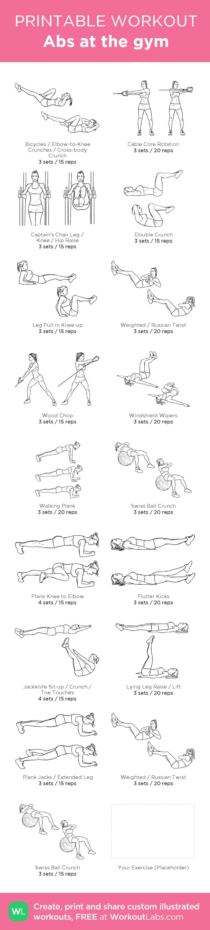 Abs at the gym: my visual workout created at WorkoutLabs.com • Click through to customize and download as a FREE PDF! #customworkout More