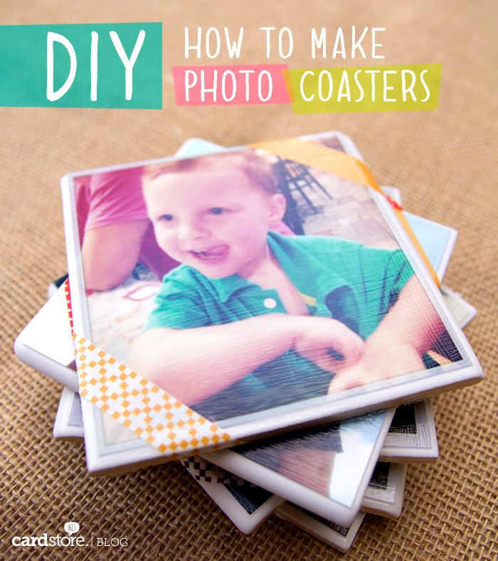 How to make photo coasters {DIY}.  Do a collage of the different eras.  1800s, 1940s, then the eras of the one I'm giving them to 1980s, ect.