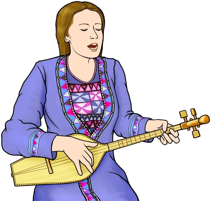 パンドゥリを演奏する女性/グルジア(ジョージア)のリュート型弦楽器。 弦は3本/panduri/フリー素材