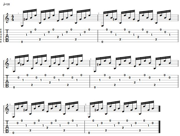 Guitar finger picking exercise