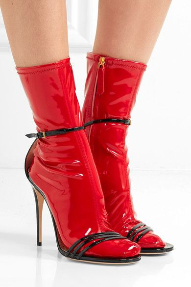 Heel measures approximately 105mm/ 4 inches Black patent leather, red latex Buckle-fastening ankle strap Made in ItalyAs seen in The EDIT magazine