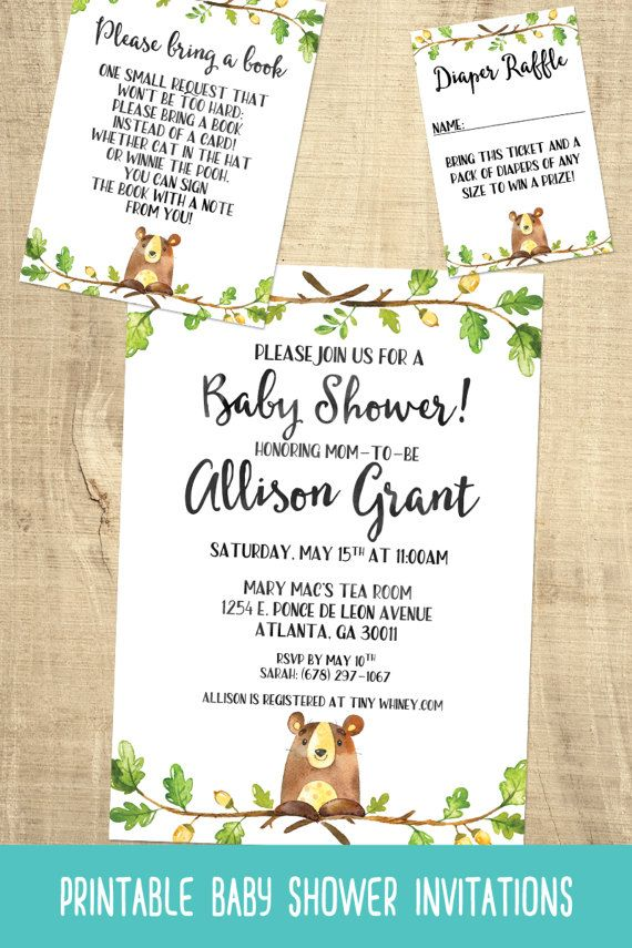 Bear Baby Shower Invitations   Boys Baby Shower   Forest Baby Shower