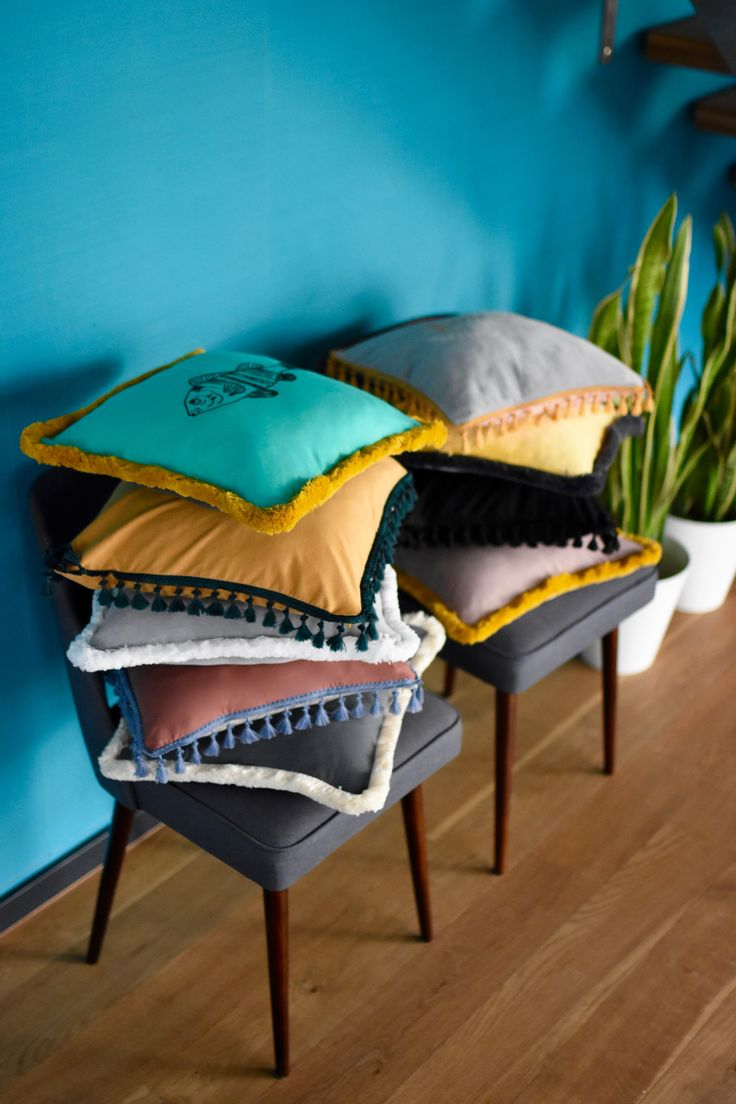 Emerald madness by NUKI.  Embroidered boho cushions.