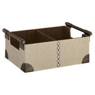 CD And DVD Storage Bin With An Adjustable Divider And Faux Leather Accents.  Product: Media BinConstruction Material: Faux Leather And PolyesterColor:  Beige ...