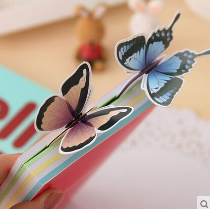 Novedad Vivid Mariposa Marcador Exquisito Regalo de la Señal De Papel Al Por Mayor