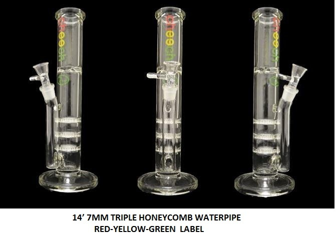 14' 7MM TRIPLE HONEYCOMB WATERPIPE  RED-YELLOW-GREEN  LABEL   $169.99