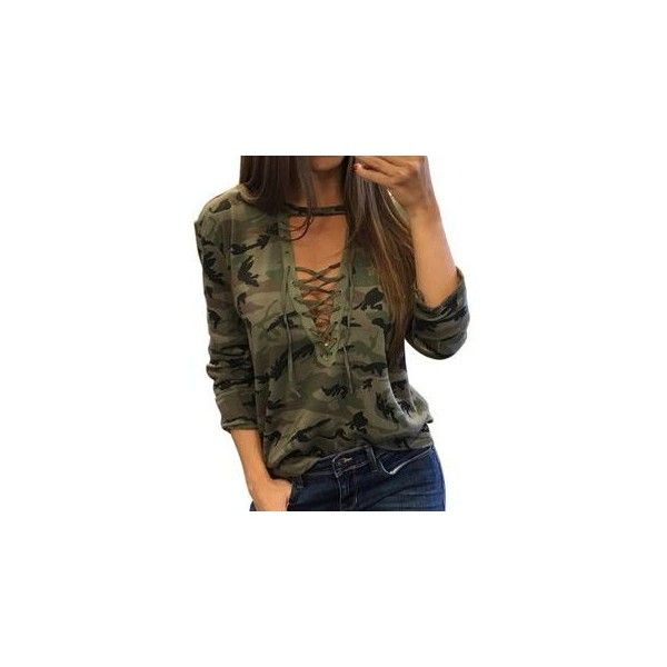 Lace Up Front Camo Long Sleeve T-Shirt ($9.81) ❤ liked on Polyvore featuring tops, t-shirts, tees, women, brown t shirt, camouflage t shirt, long sleeve cotton tees, camo tee and long sleeve t shirts