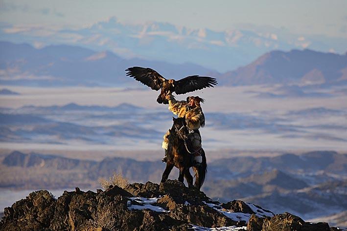 Kazak eagle hunter. Altai mountains. Western Mongolia