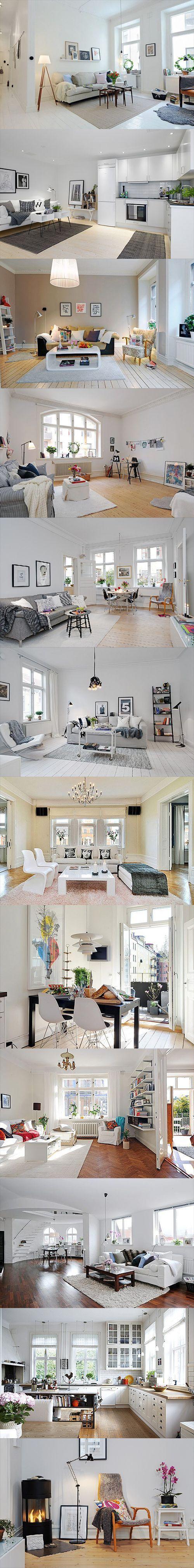 Dużo fajnych rzeczy. Lampa na pierwszym zdjęciu, kolor ścian i podłogi na trzecim, kanapa na piątym i szóstym. Kremowe ściany i drewniana podłoga (kolor, nie parkiet) na dziewiątym. Drewniana podłoga w białej kuchni z drewnianym blatem na przedostatnim. Koza na ostatnim.