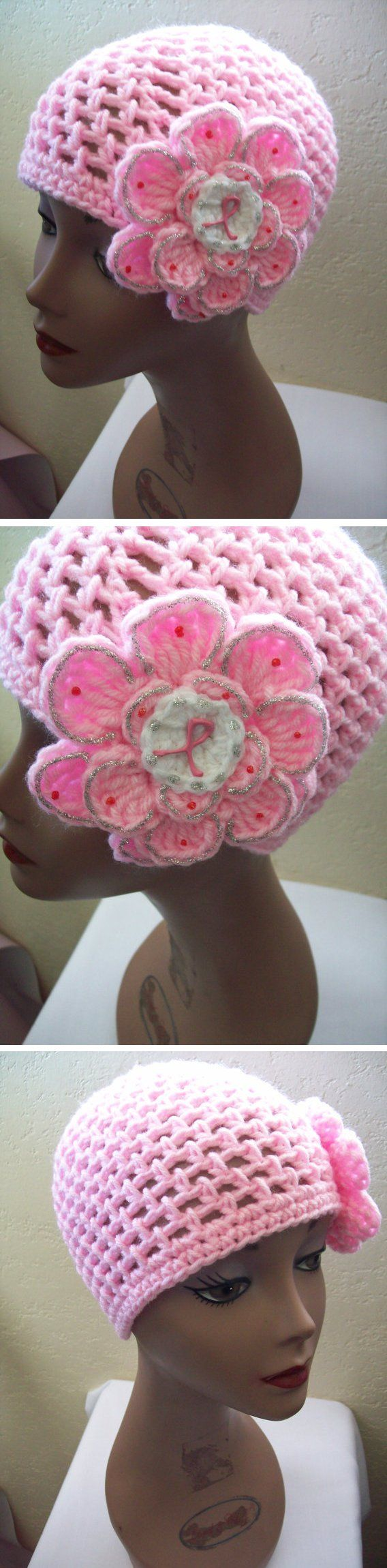 Breast Cancer Awareness Hat - *Inspiration* Easy Peasy, pink mesh hat with large flower. Make an extra white circle for the center of the flower and paint an awareness ribbon on it with dimensional paint.