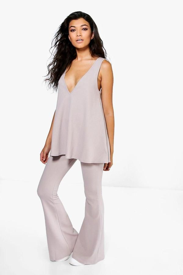 boohoo Ivy Swing Top & Flared Trousers Co-Ord Set