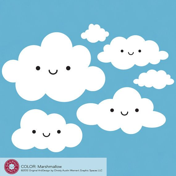 .: Wall Decal Sticker, Baby Kids, Clouds Wall, Wall Decals, Children Baby, Babies Nursery, Happy Clouds, Baby Nursery