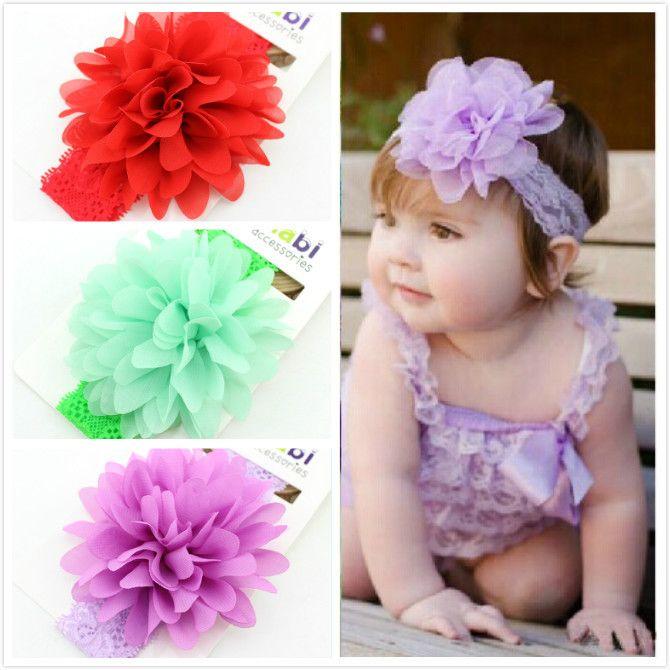Дети девочка цветок шелк шифоновая ткань кружево цветок волос повязка на голову малыша дети волос аксессуары