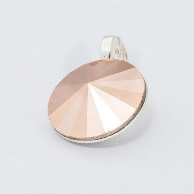Silver plated Swarovski Rivoli Pendant 12mm Rose Gold  Dimensions: length: 1,7cm stone size: 12mm Weight ~ 1,40g ( 1 piece ) Metal : silver plated brass Stones: Swarovski Elements 1122 12mm Colour: Rose Gold 1 package = 1 piece Price 9.40 PLN(about 2.5 EUR)