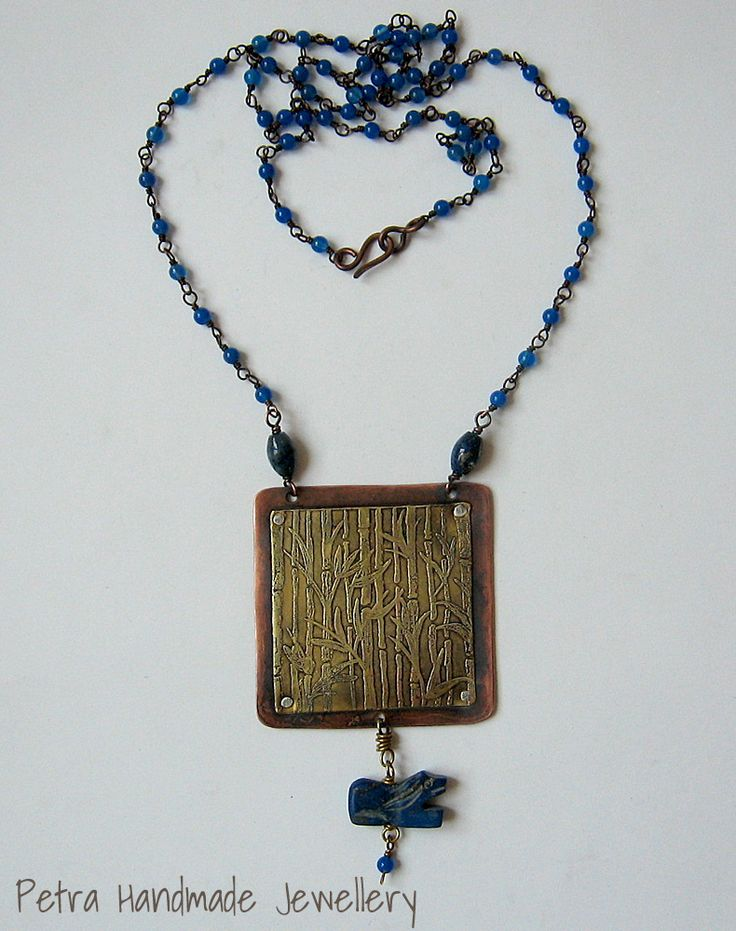etching on brass, lapislazuli lion and blue agata chain by Petra Handmade Jewellery