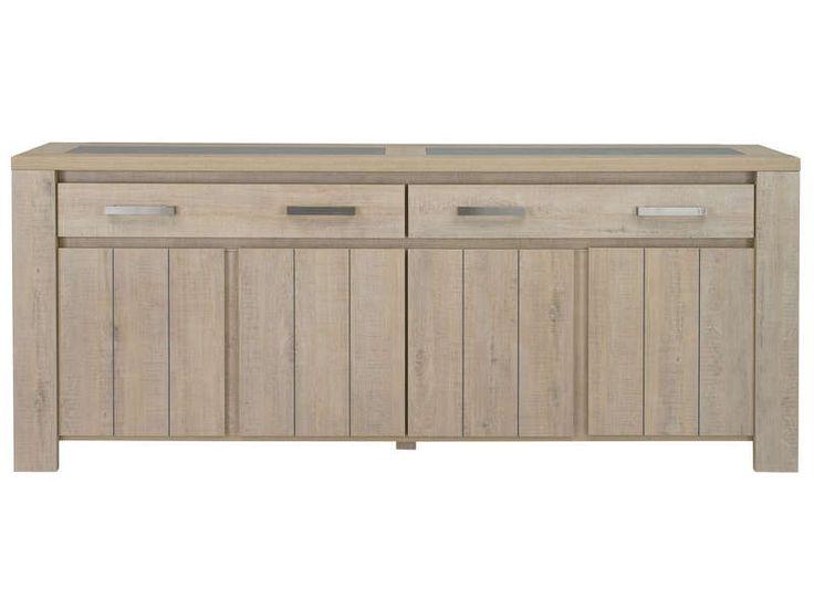 Bahut 4 portes + 2 tiroirs Brest nature coloris chêne clair