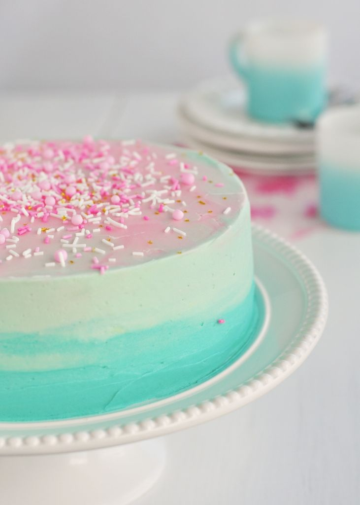 Beautiful blue and pink cake ~ perfect for baby shower reveal