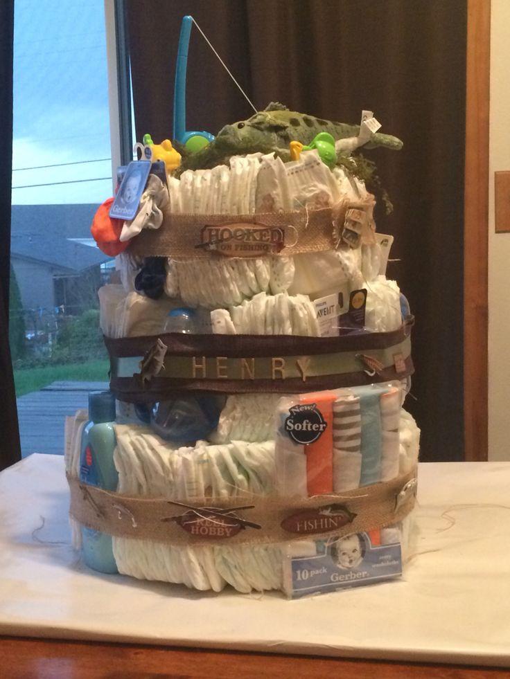 Hooked On Fishing Diaper Cake Used Burlap Around The
