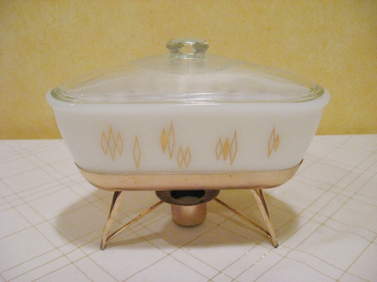 MidCentury Triangle Chafing Dish White with Gold by WoolTrousers, via Etsy.