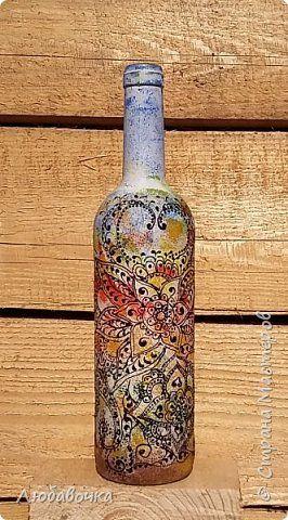 Декор предметов Роспись Осенние Бутылочки Бутылки стеклянные Краска фото 1