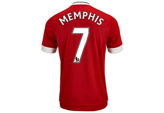 adidas Memphis Depay Manchester United Authentic Home Jersey 2015-16