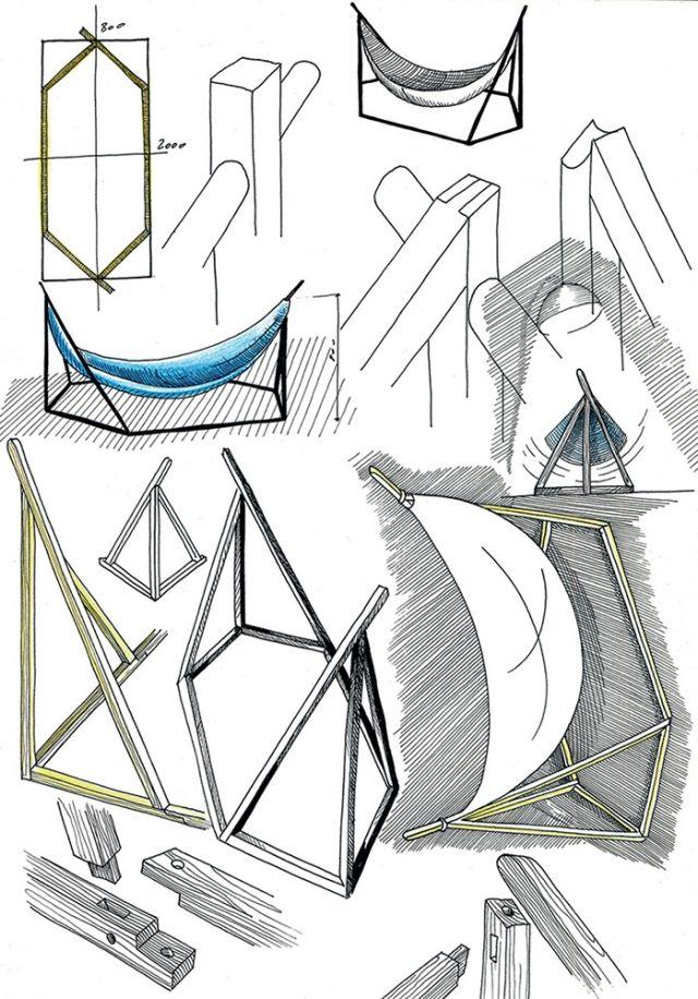 Designer- Hängematte mit Holzgestell von Laurent Corio | Hängematte ...