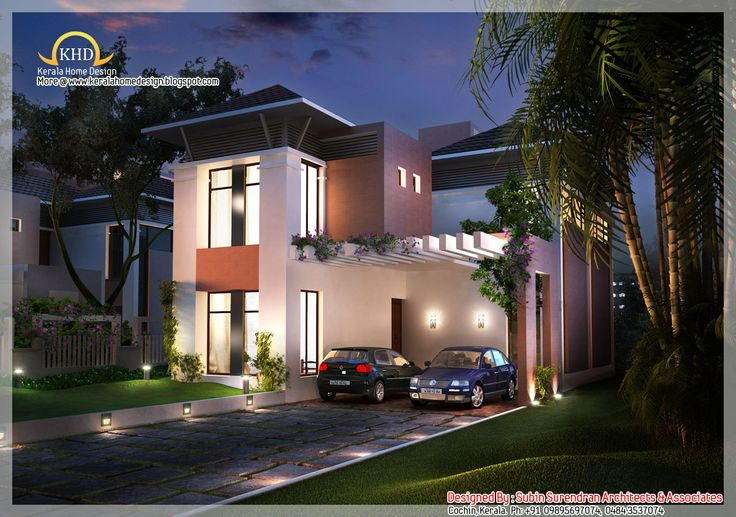 Beautiful house elevation 2200 sq ft kerala home for Kerala residential building elevations