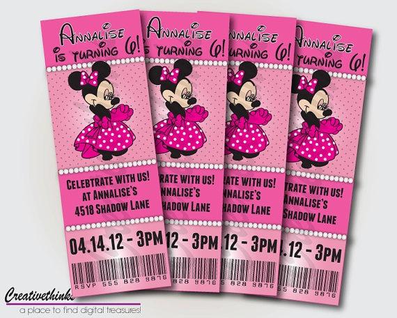 Minnie Mouse Birthday Ticket Invitation Party ideas Pinterest - ticket invitation