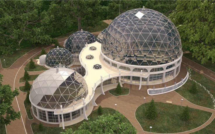 Icosahedron geometry domes in Kaliningrad. Stainless steel frame – T-STAR system construction. Dome is covered and one of them – Cosmo panel