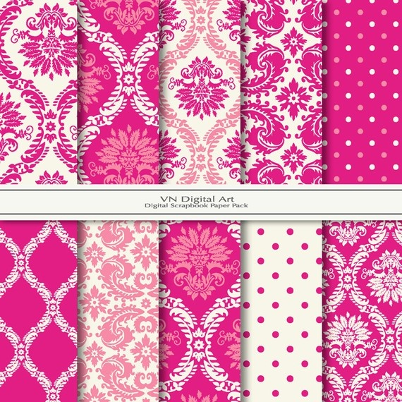 """Pink Damask Print"" by VN Digital Art~Digital Scrapbook Paper Pack, via Etsy"