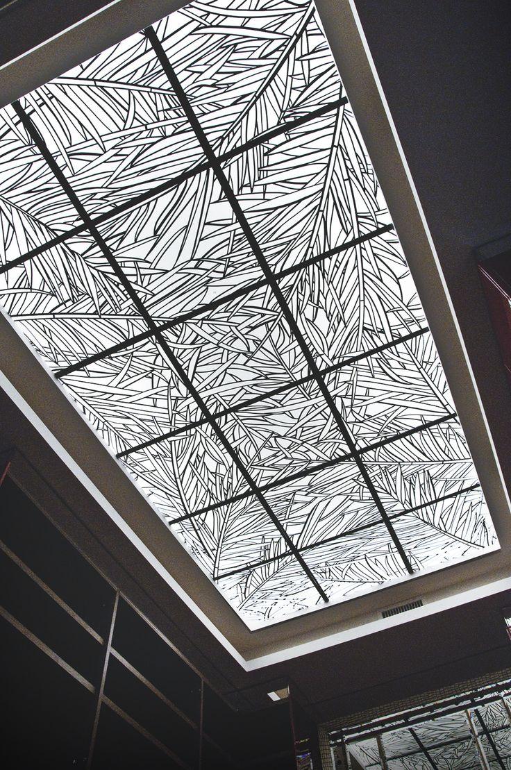 Plafond dressing villa feuillage palmes plafond for Realisation plafond