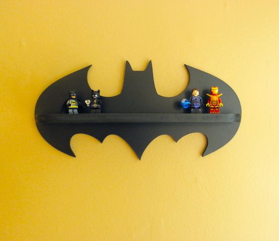 Batman Shelf, Kids Shelf, Super Hero, Lego Display Shelf, 14 Inch Shelf, Lego Dimensions, Amiibo Display Shelf