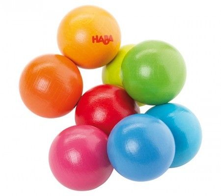 Wooden baby toy made with food safe dye.  Balls are on elastic to move any way baby pleases.