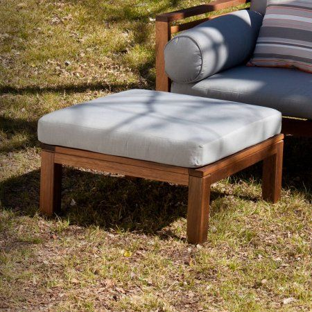 Southern Enterprises Bartlett Outdoor Ottoman, Oiled Eucalyptus and Grey, Brown